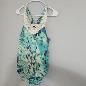 Sleeveless blouse, crochet neckline, size S, EUC